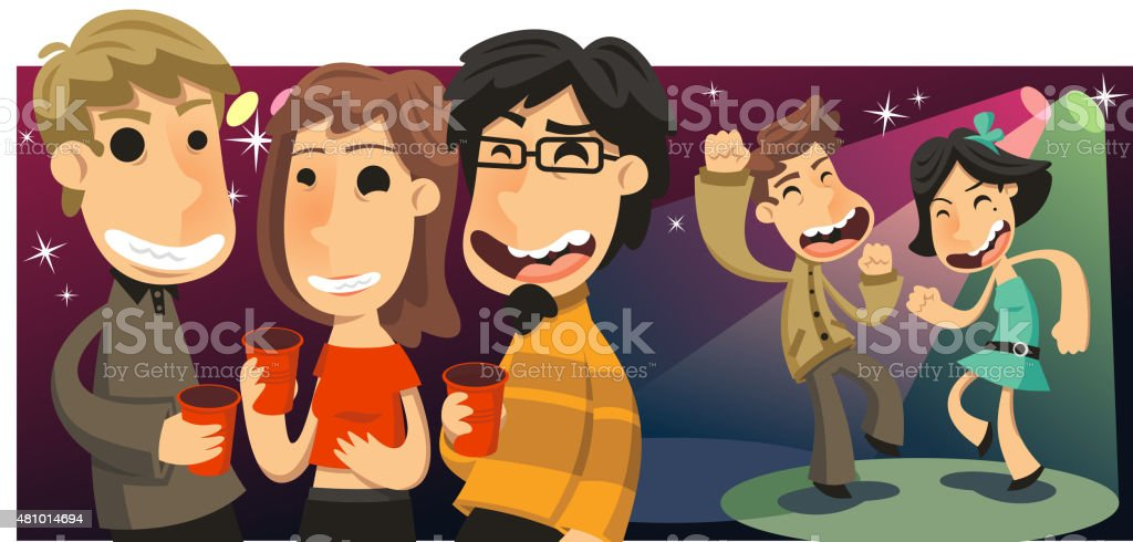 Party People Dancing and Drinking at Nightclub vector art illustration