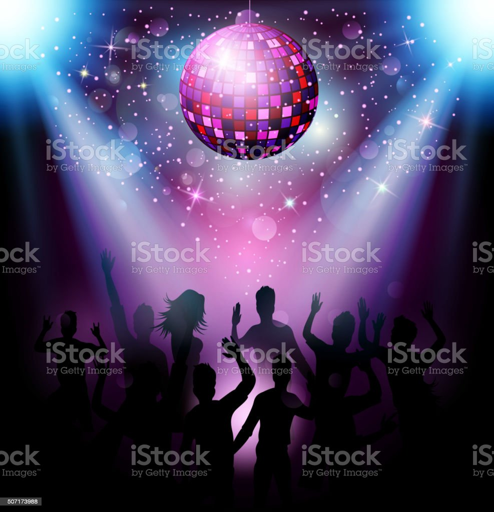 Party people in club vector art illustration