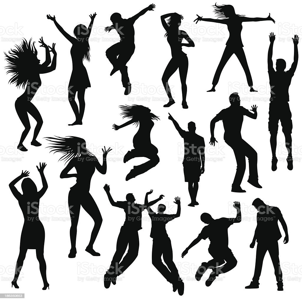 Party people silhouettes vector art illustration