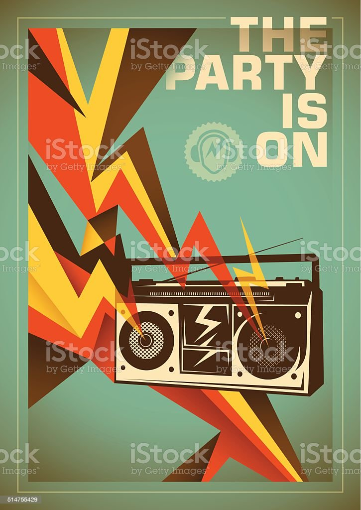 Party poster design with abstraction. vector art illustration