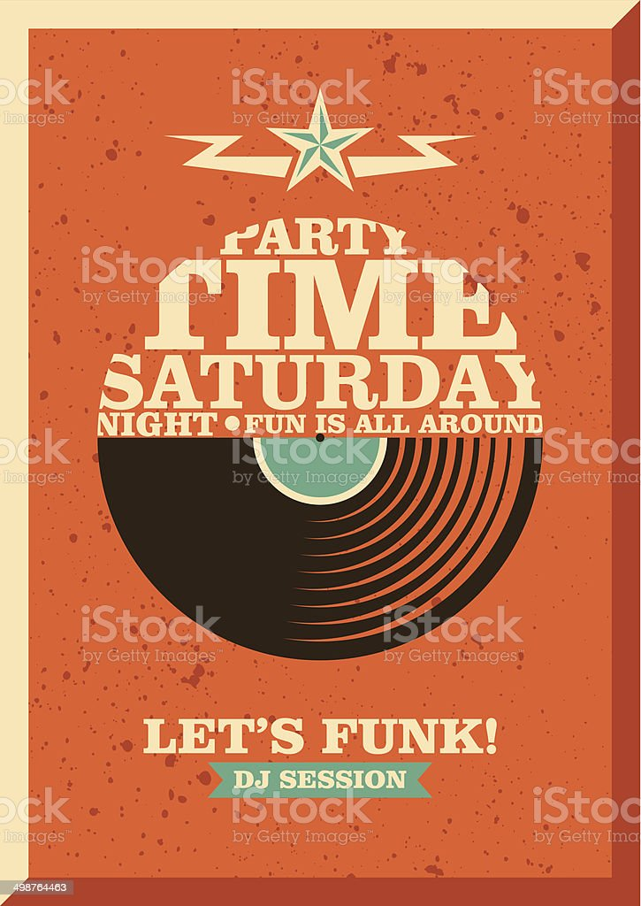 Party poster design with typography. vector art illustration