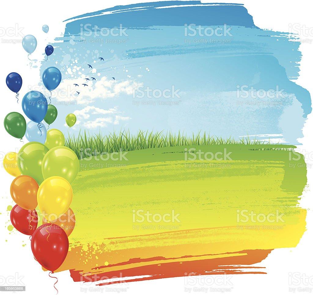 Party rainbow landscape background vector art illustration