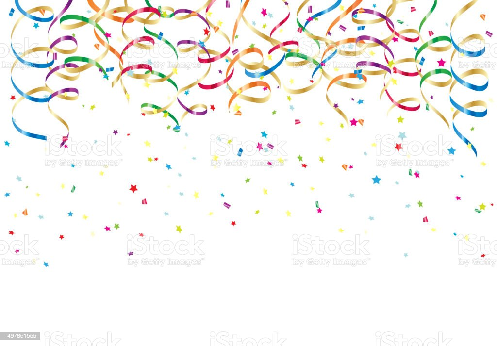 Party streamers and confetti vector art illustration
