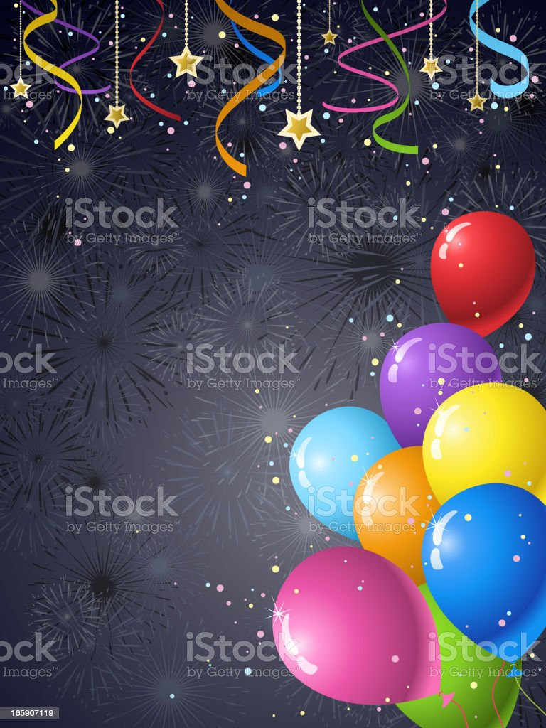 Party Streamers & Balloons royalty-free stock vector art