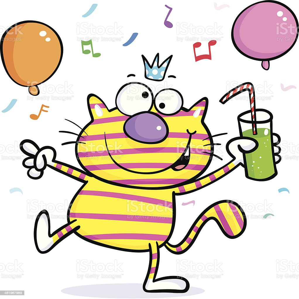 Party time cat royalty-free stock vector art