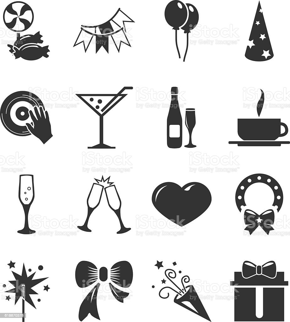 Party time icons set vector art illustration
