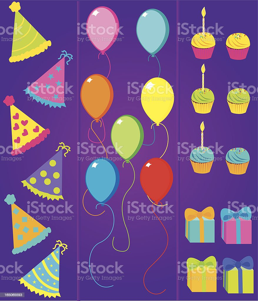 Party time pamphlet with hats, balloons, cupcakes, and gifts vector art illustration