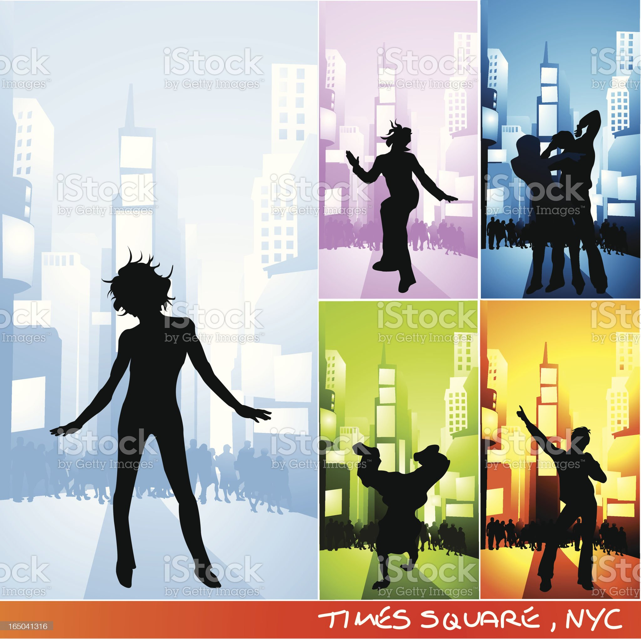 Party time - Times Square, NYC royalty-free stock vector art
