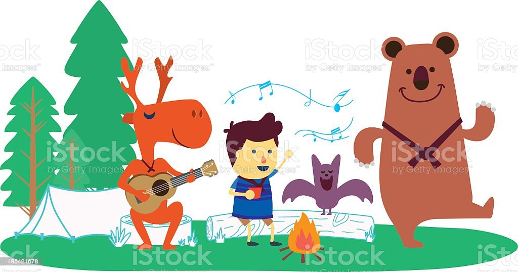 Party with wild animal vector art illustration