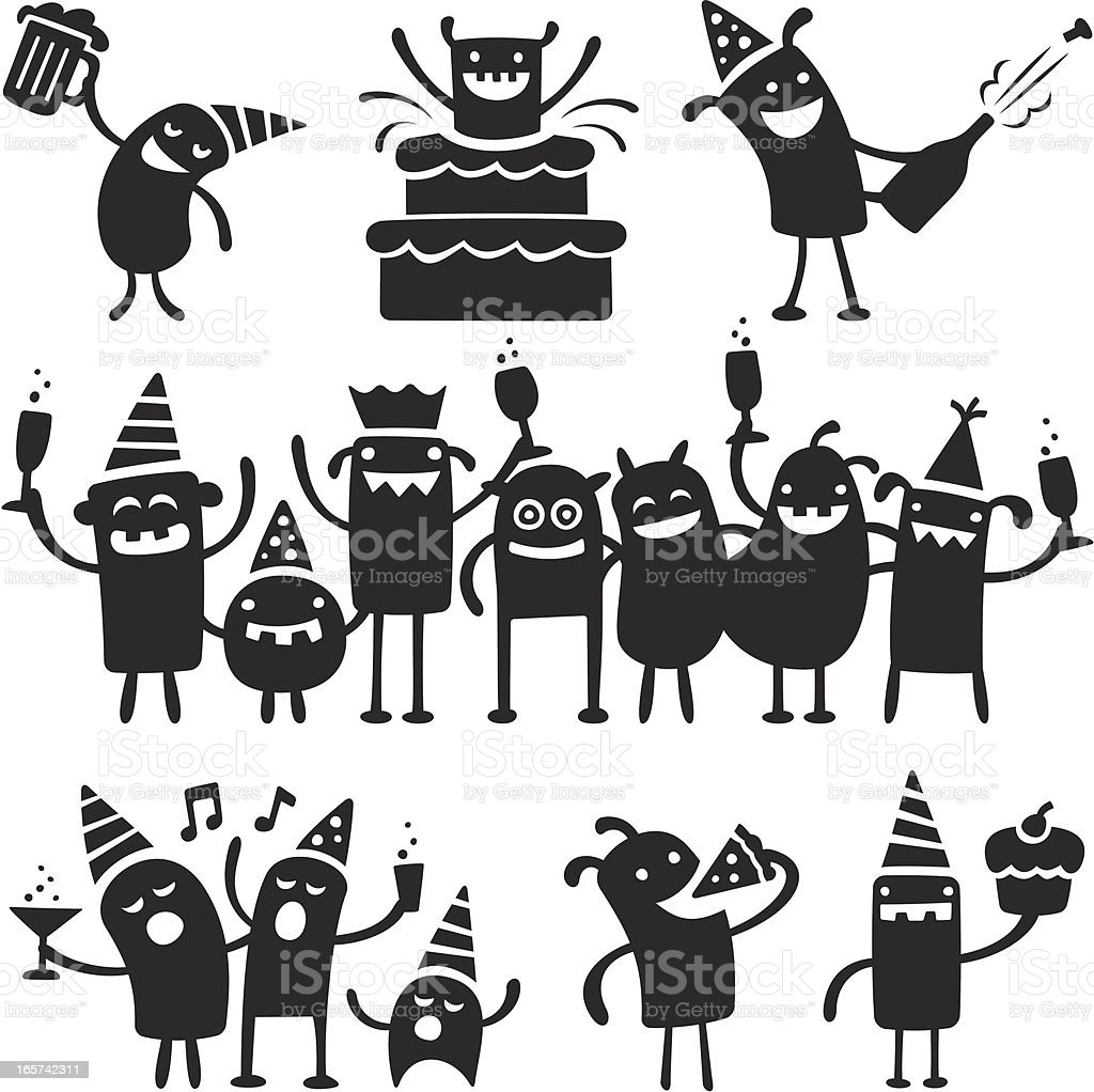 Partying Characters royalty-free stock vector art