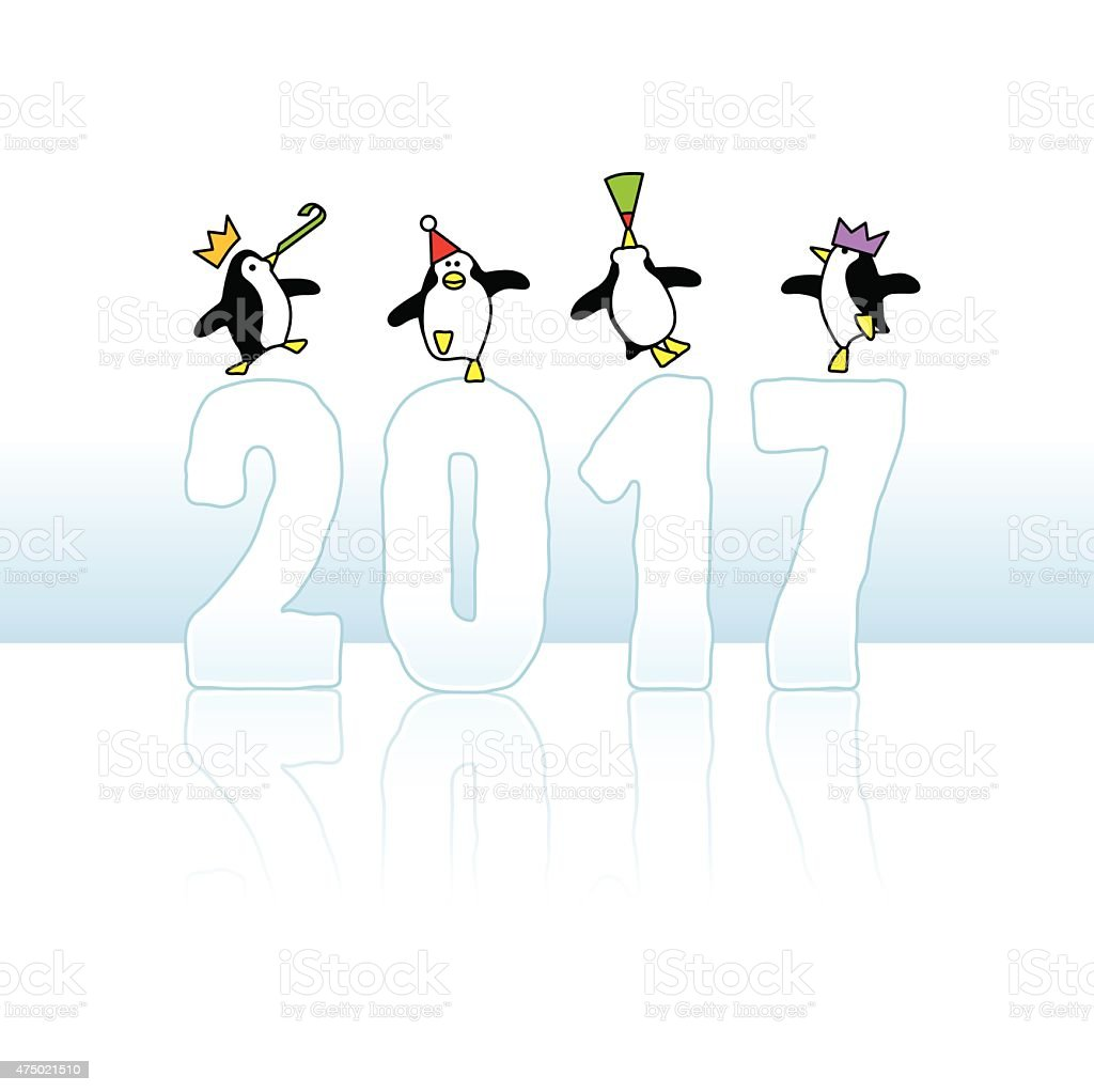 Partying Penguins Celebrating on Year 2017 vector art illustration