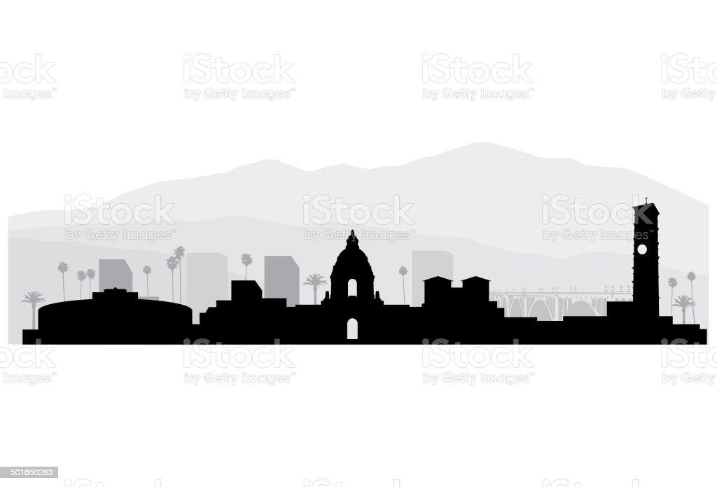Pasadena California Cityscape vector art illustration