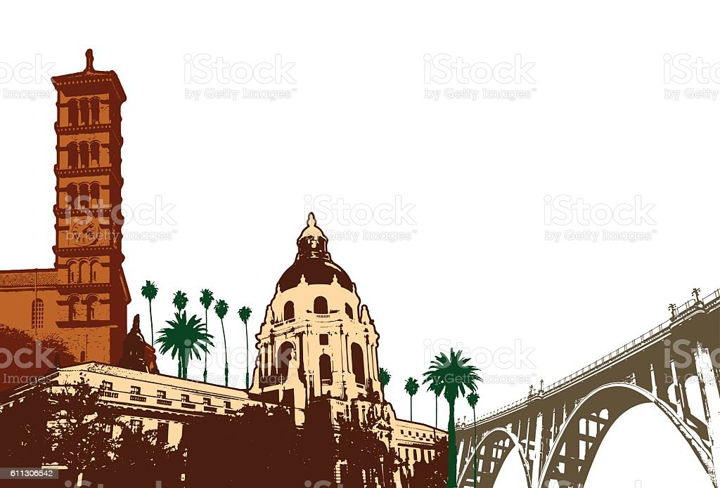 Pasadena Cityscape Illustration vector art illustration