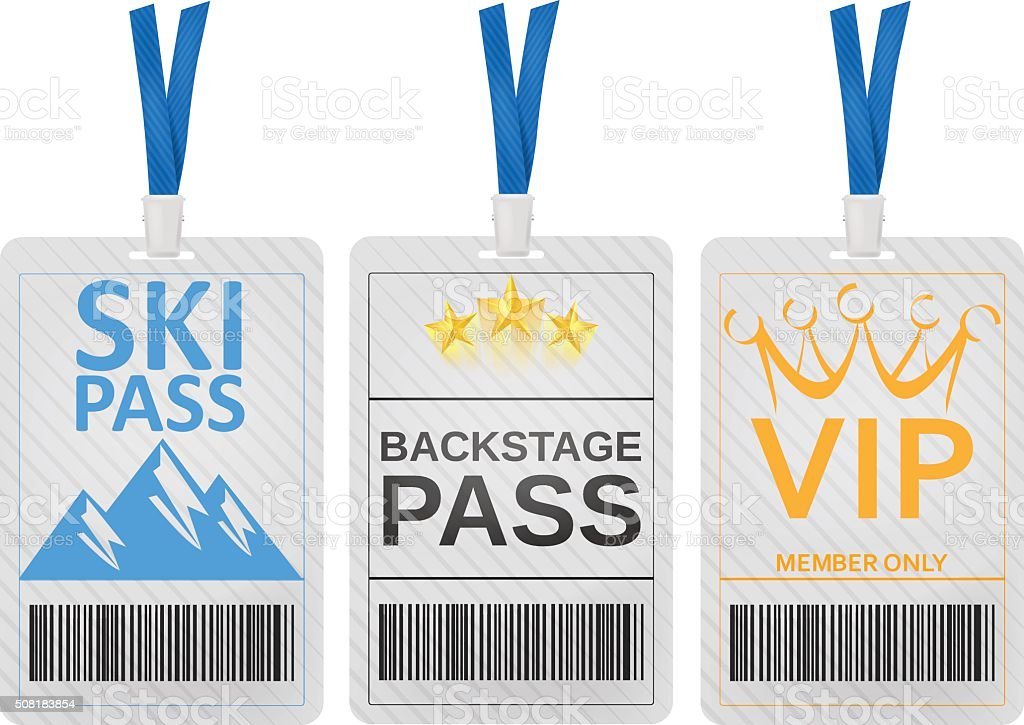 Pass cards vector art illustration