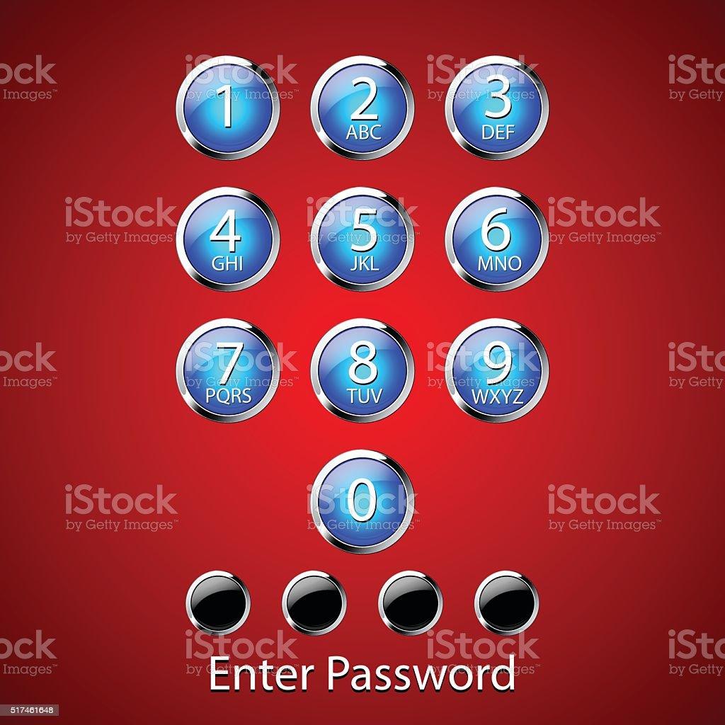 Passcode Keypad Lock Screen vector art illustration
