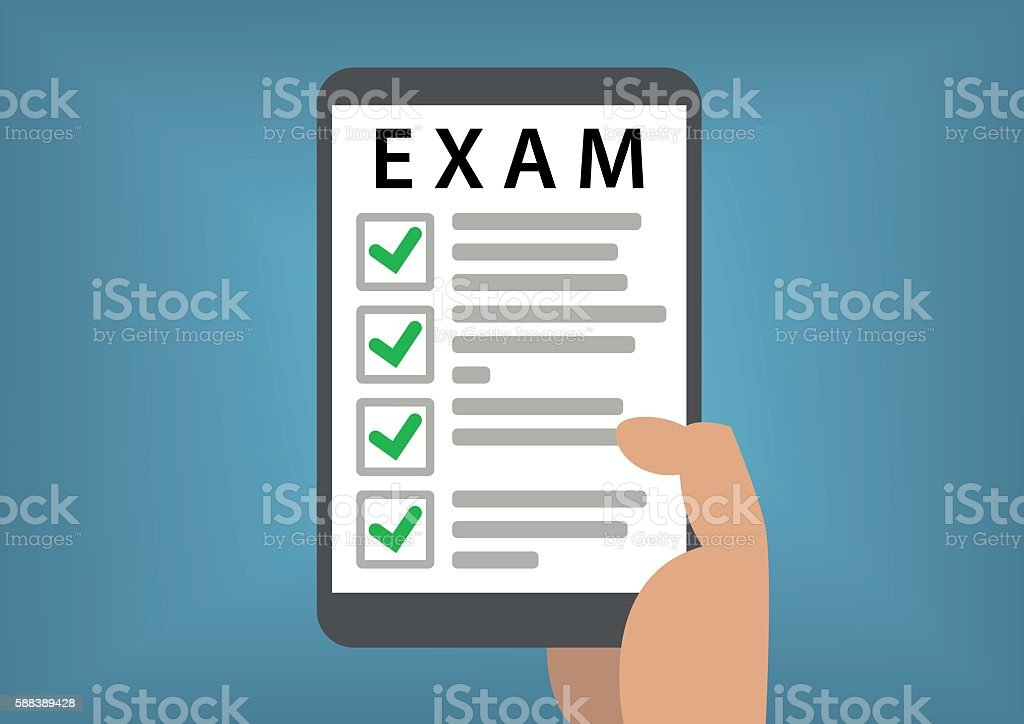 Passed online exam and test concept with hand holding smartphone vector art illustration