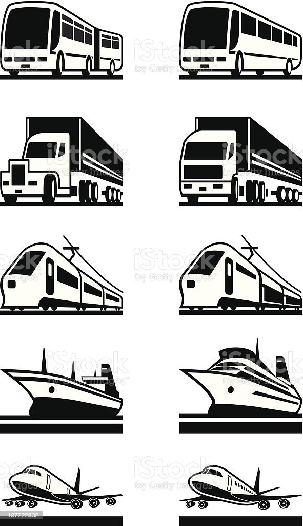 Passenger and cargo transportation royalty-free stock vector art