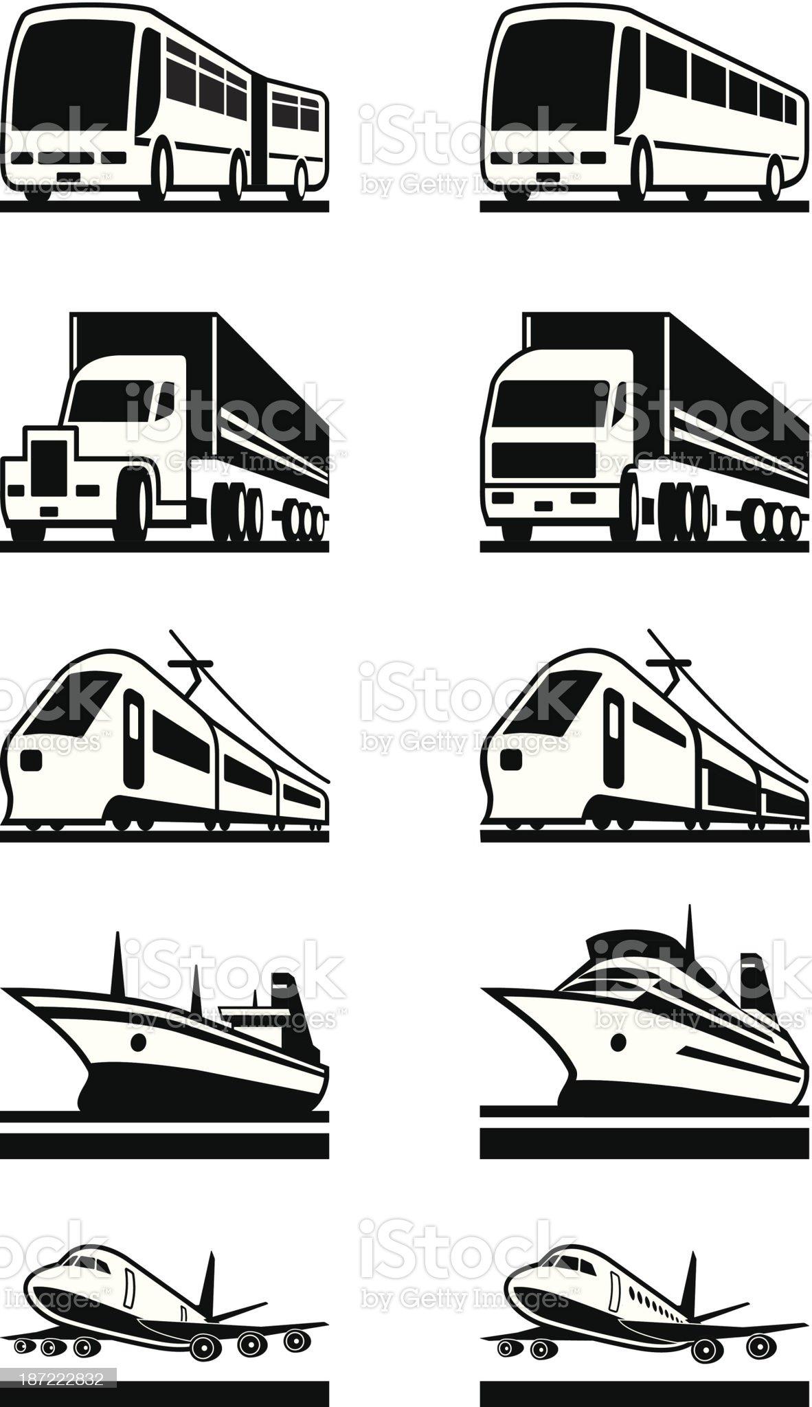 Passenger and cargo transportation royalty-free stock vector art