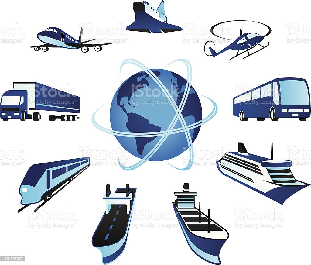 Passenger and cargo transportations around the world royalty-free stock vector art