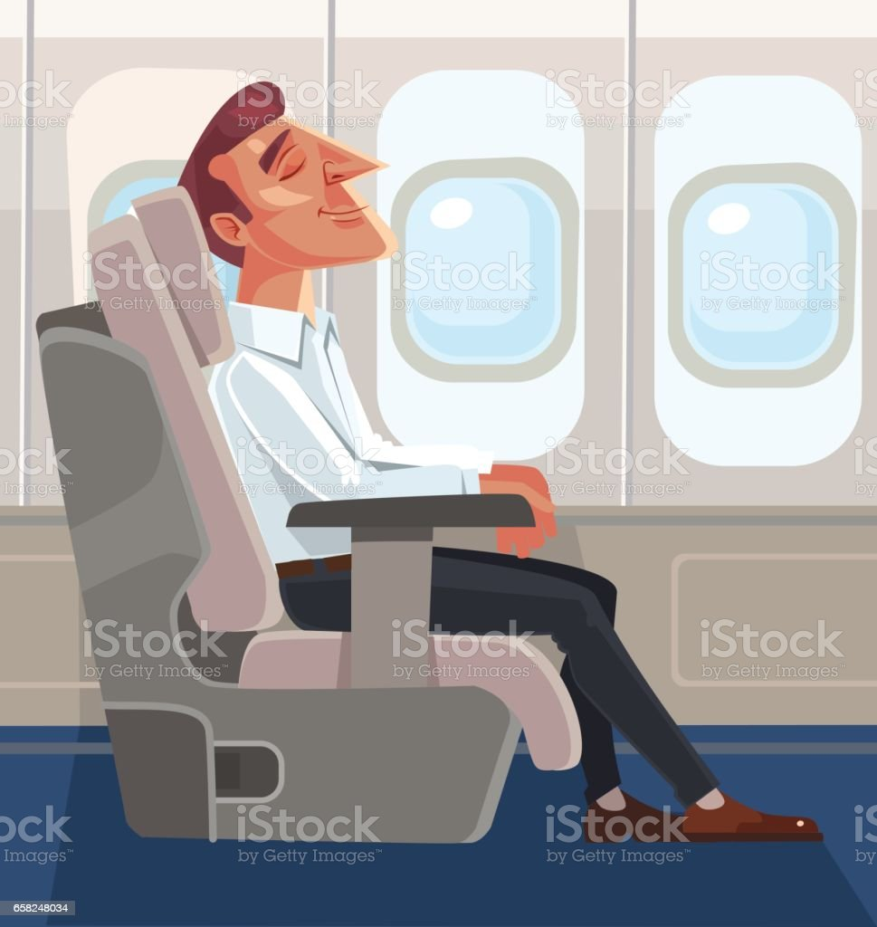 Passenger man character sitting in chair and relax in business class vector art illustration