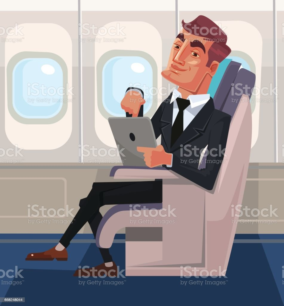 Passenger man character sitting in chair and relax in business class using tablet vector art illustration