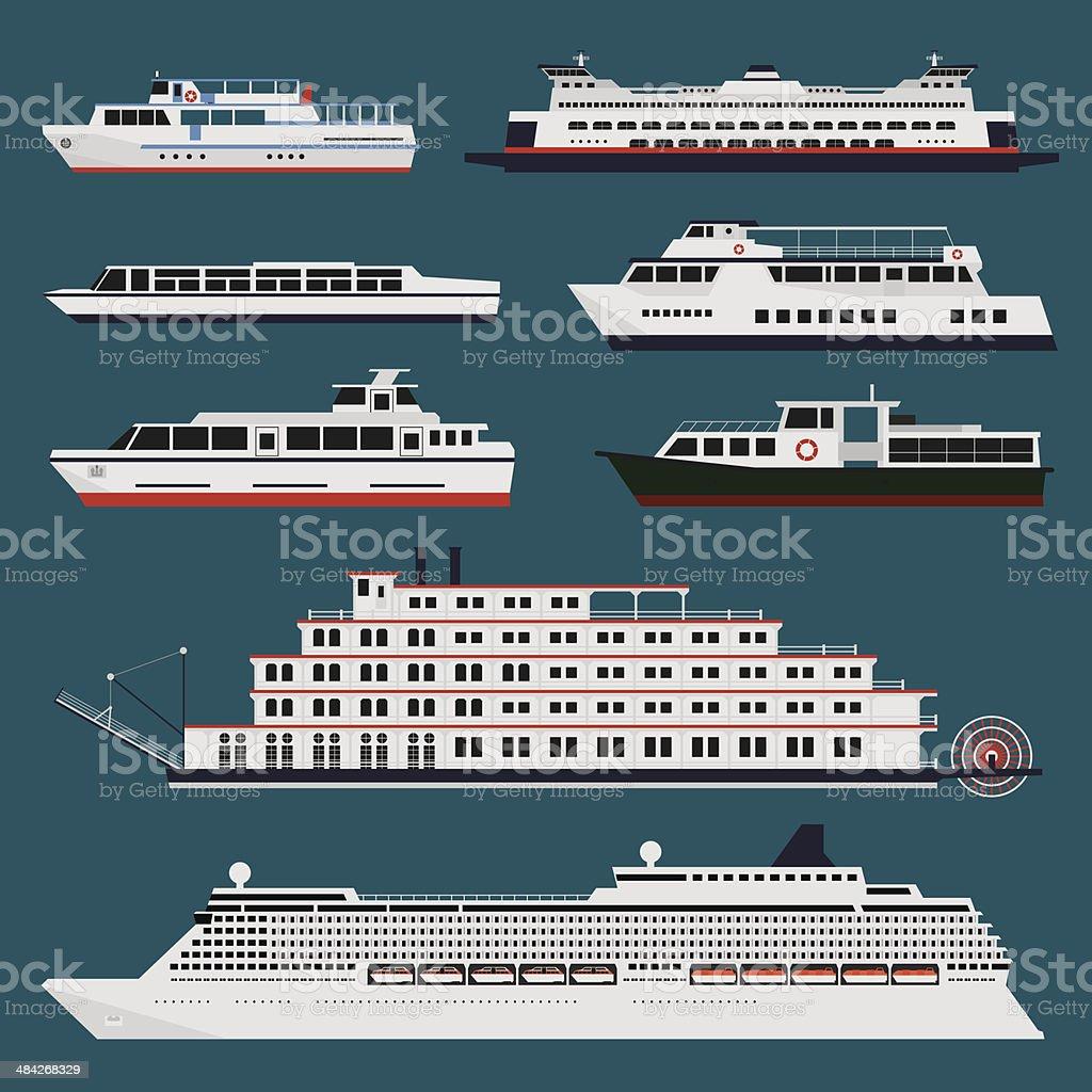 Passenger ships infographic vector art illustration