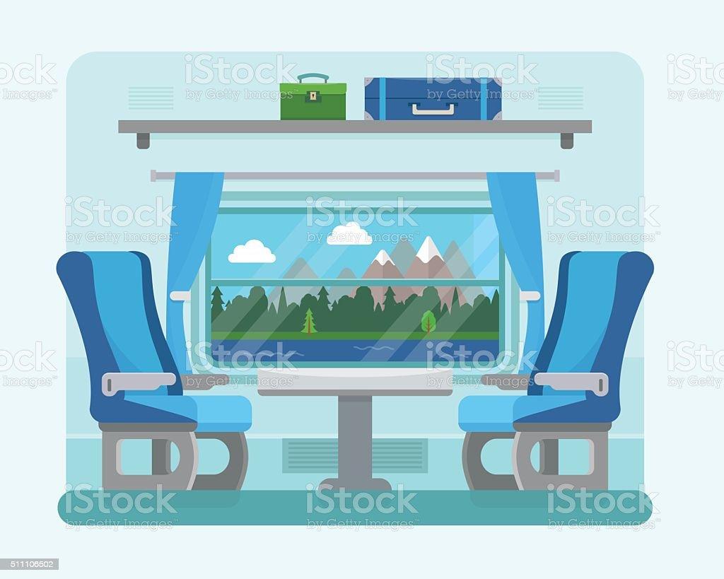 Passenger train inside. vector art illustration