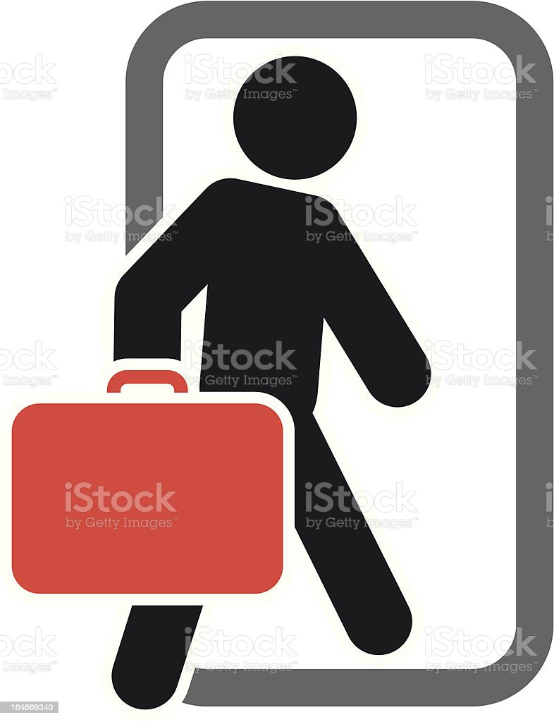 Passenger with luggage moving forward royalty-free stock vector art