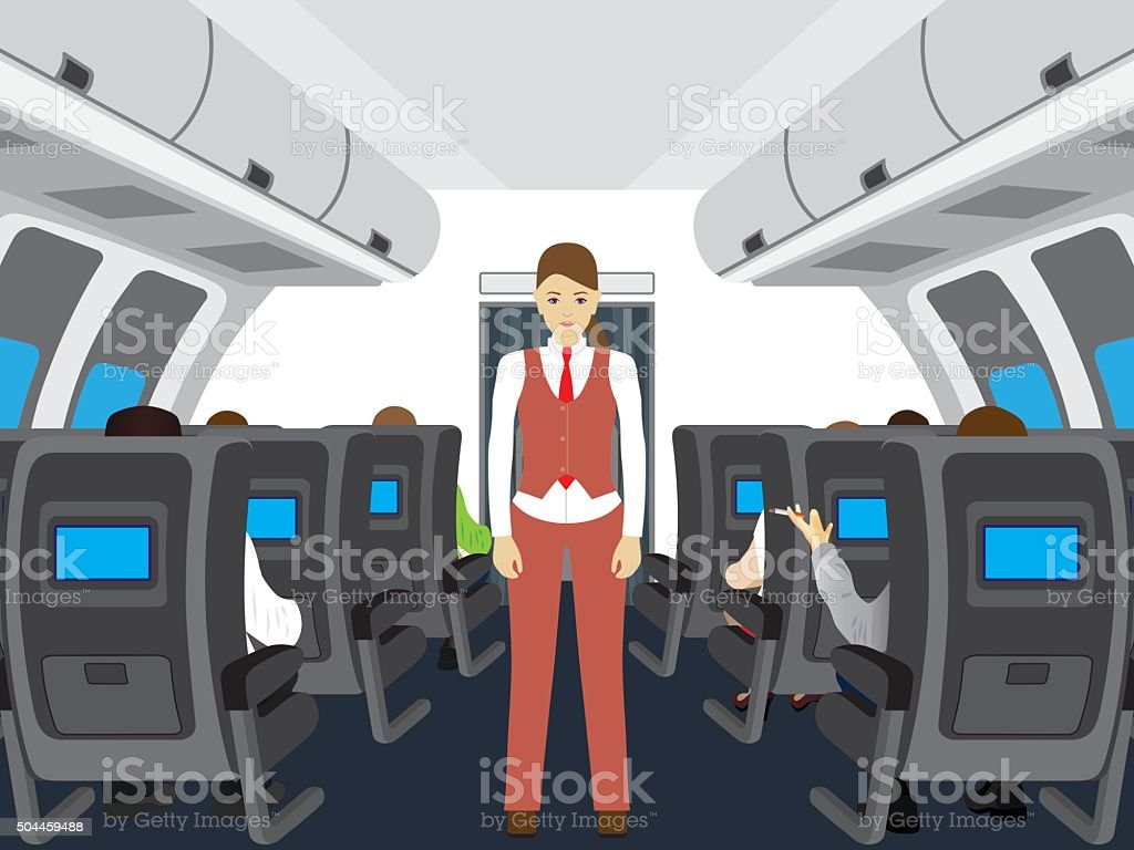 Passengers and stewardess on the plane. vector art illustration