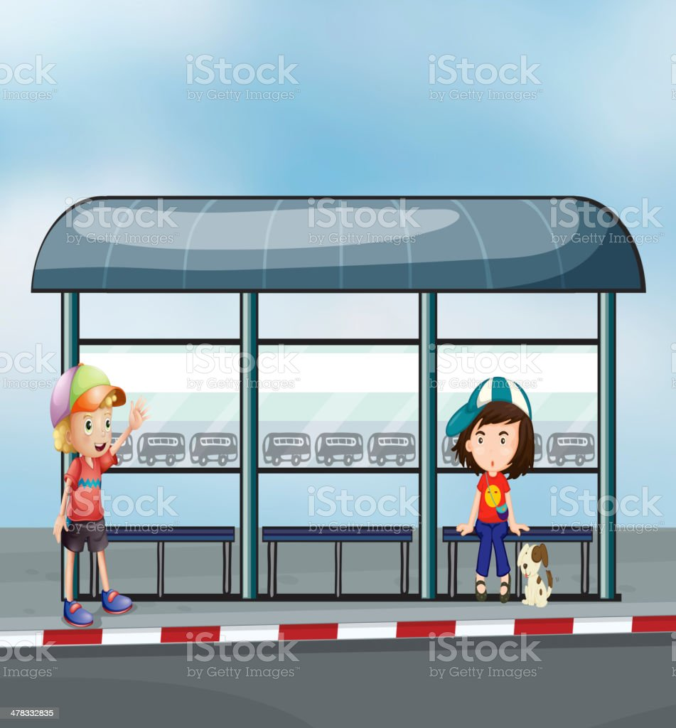 Passengers at the waiting shed royalty-free stock vector art