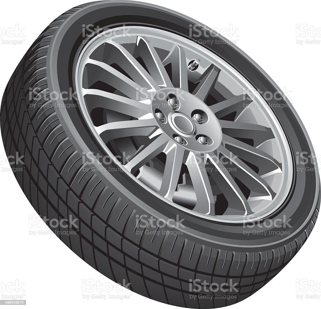Passenger's car's wheel vector art illustration