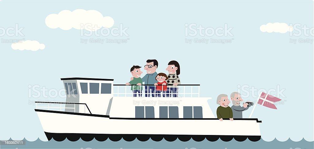 Passengers on a ferry cruise vector art illustration