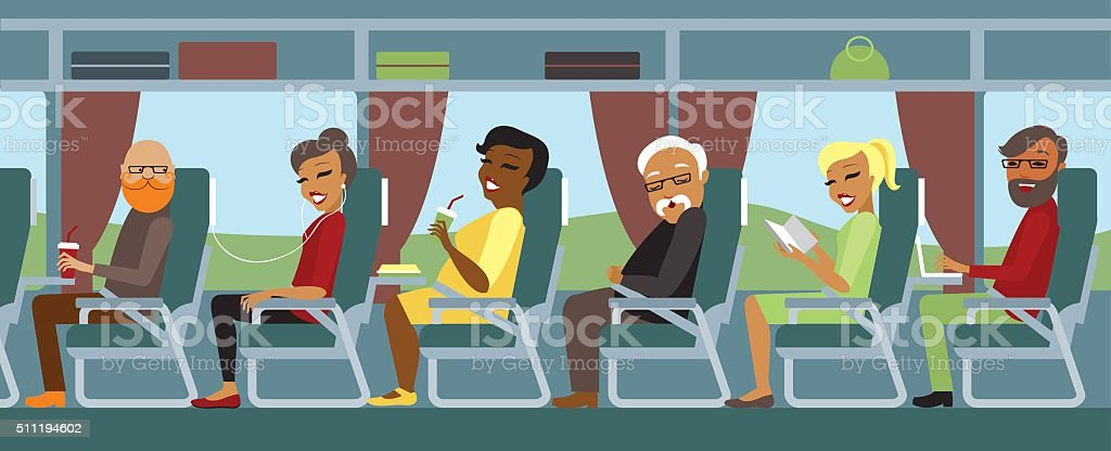 Passengers travelling by bus vector art illustration