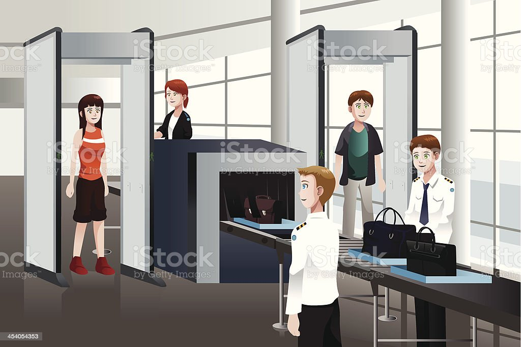 Passengers walking through security check vector art illustration