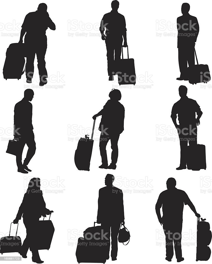Passengers with their luggage at an airport royalty-free stock vector art