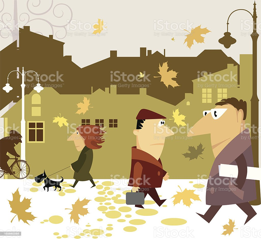 Passers-by. vector art illustration