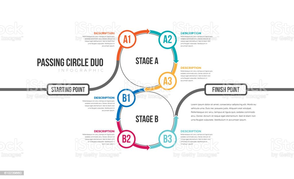 Passing Circle Duo Infographic royalty-free stock vector art