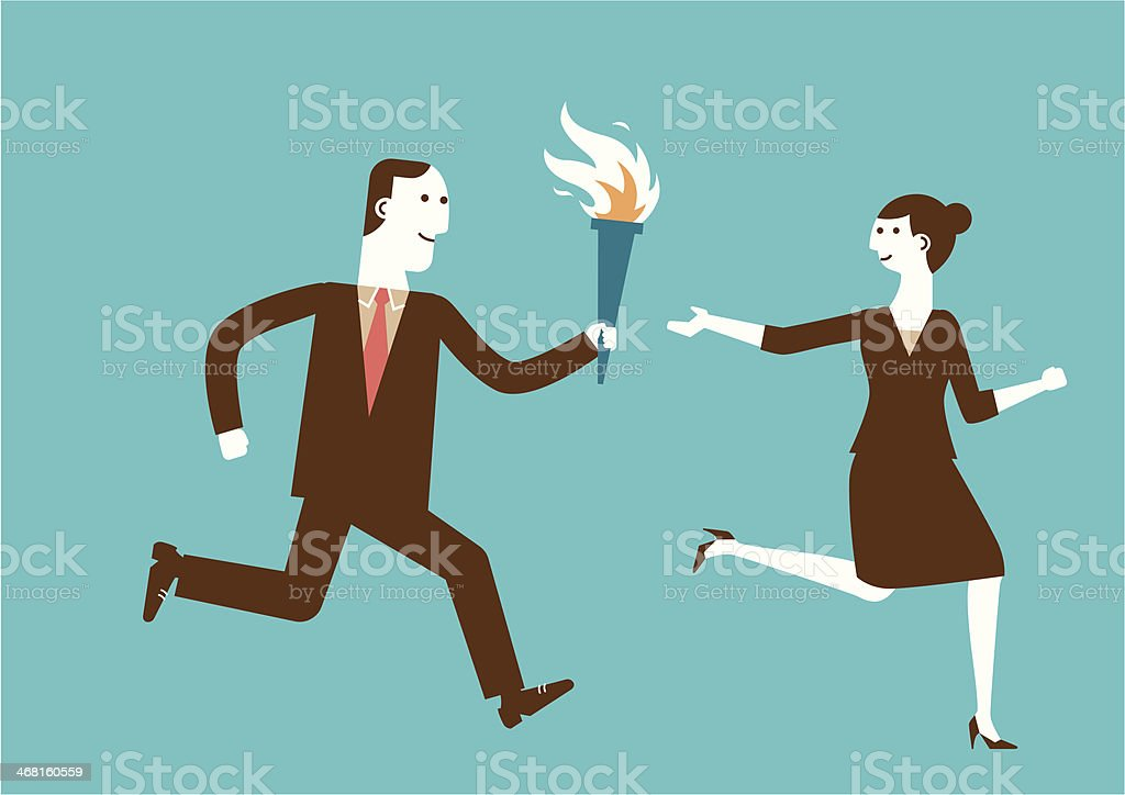 Passing the Torch | New Business Concept vector art illustration