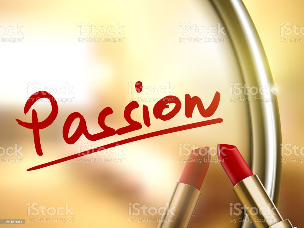 passion word written by red lipstick vector art illustration