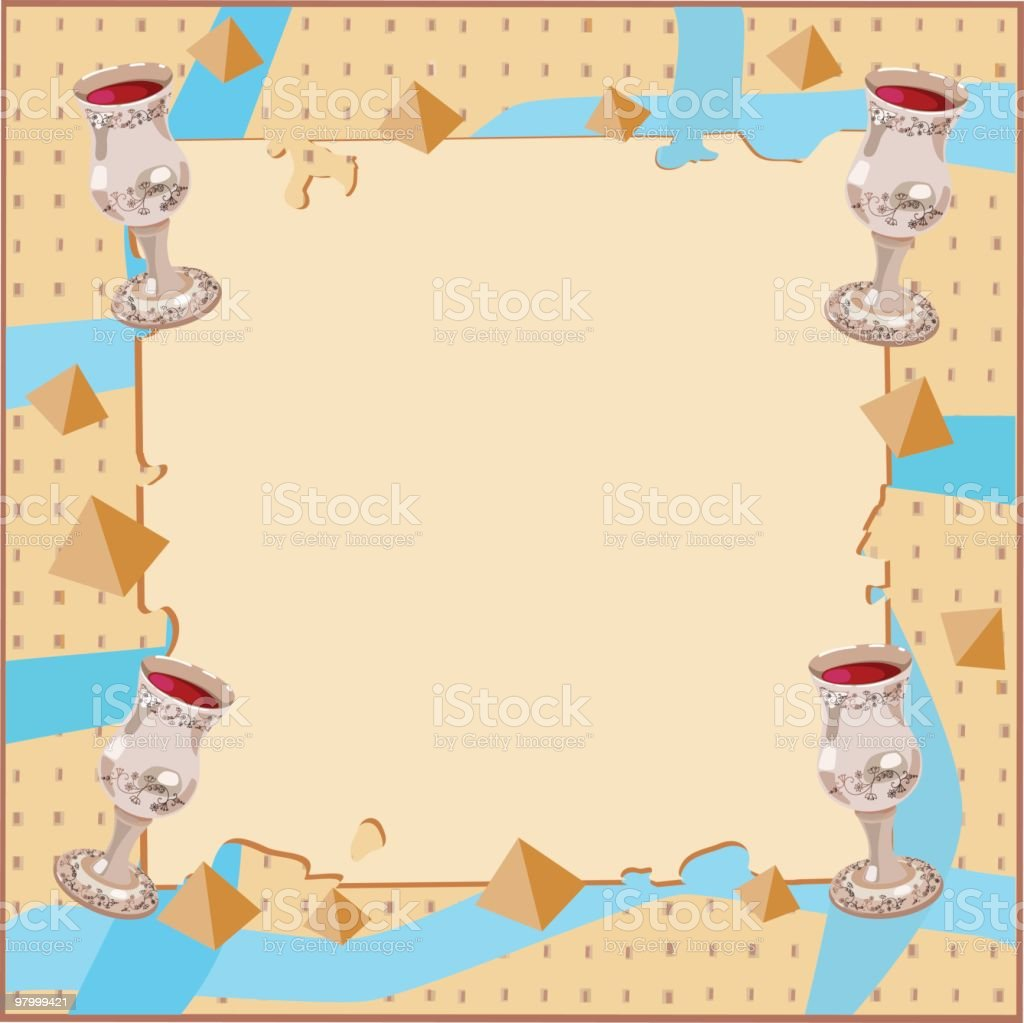 Passover Background With Four Silver Cups royalty-free stock vector art