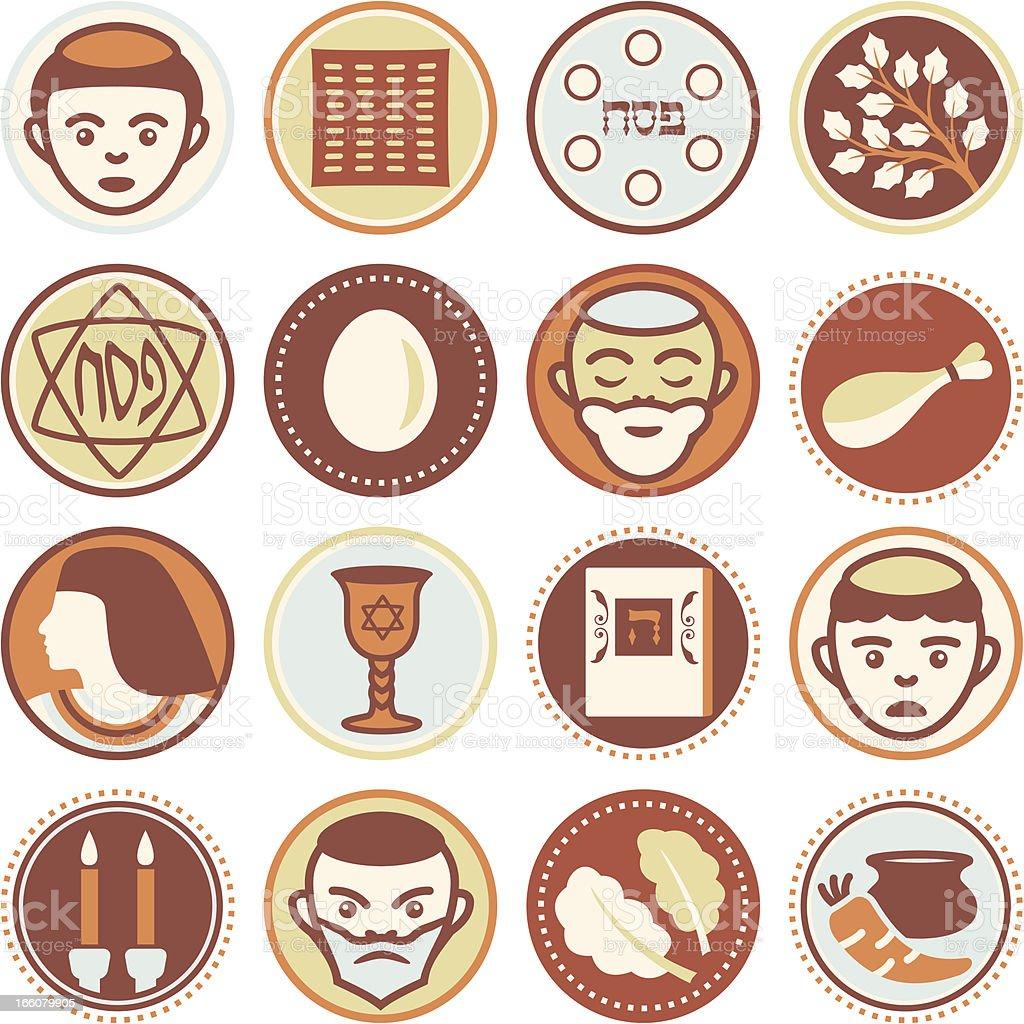 Passover - Circle Icons / Seals vector art illustration