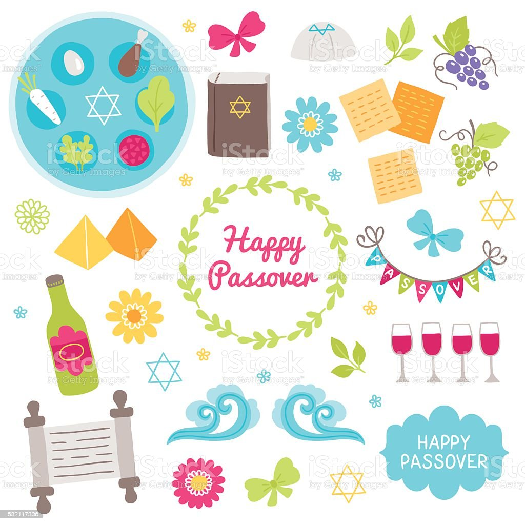 Passover design elements. Seder plate, hagada book, pyramid vector art illustration