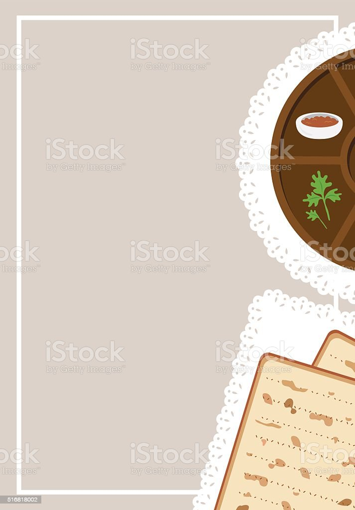 Passover  dinner, seder pesach. passover plate and traditional food vector art illustration