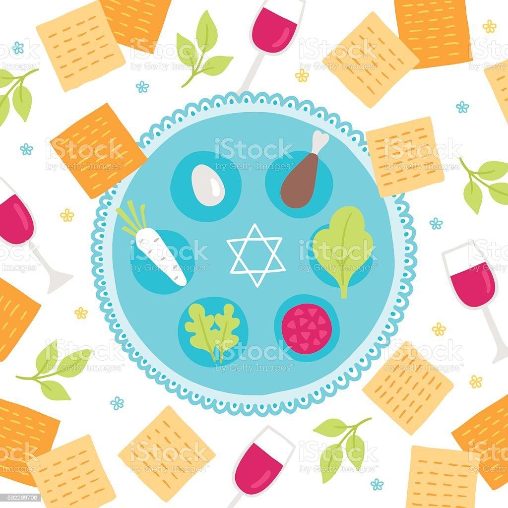 Passover greeting card vector art illustration