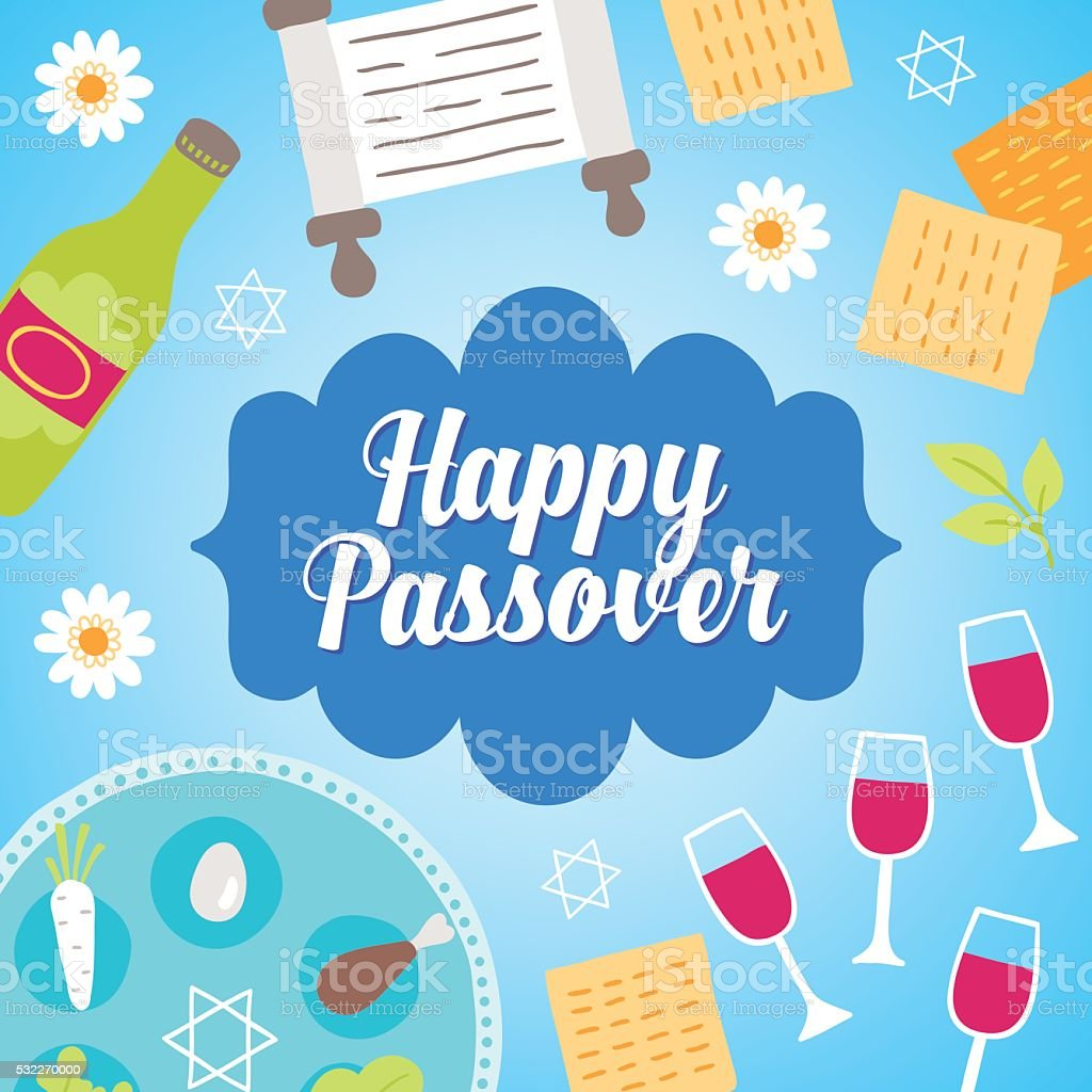 Passover greeting card with flowers. Vector illustration vector art illustration