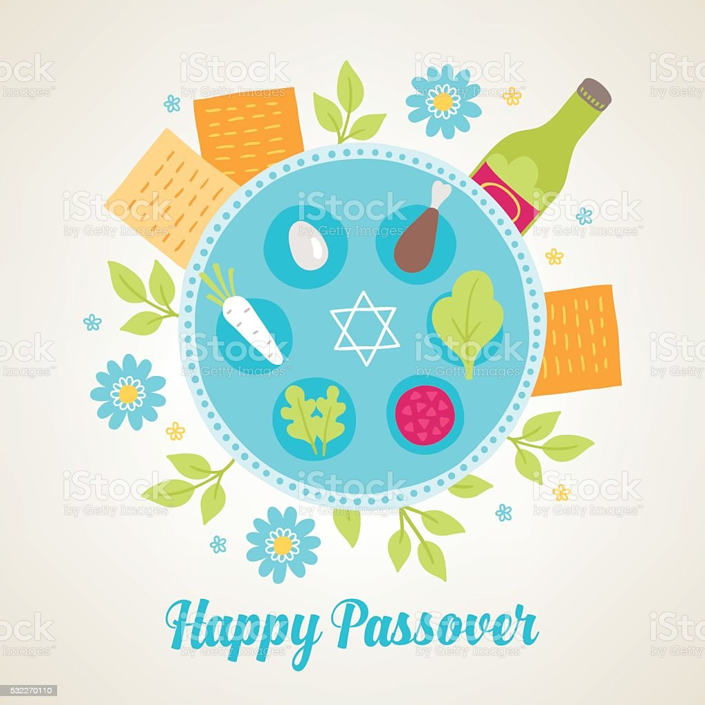 Passover greeting card with Jewish holiday symbols vector art illustration