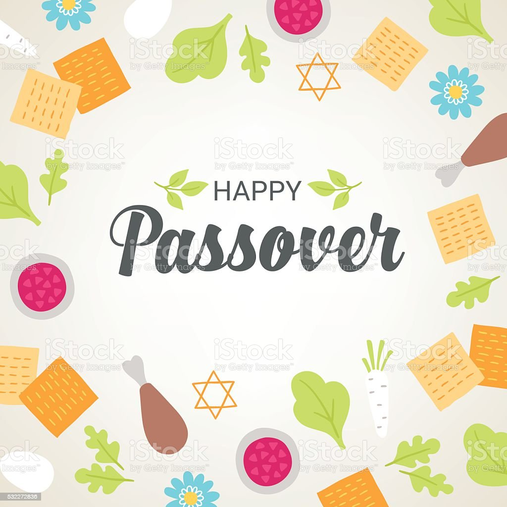 Passover greeting card with seder plate food, flowers vector art illustration