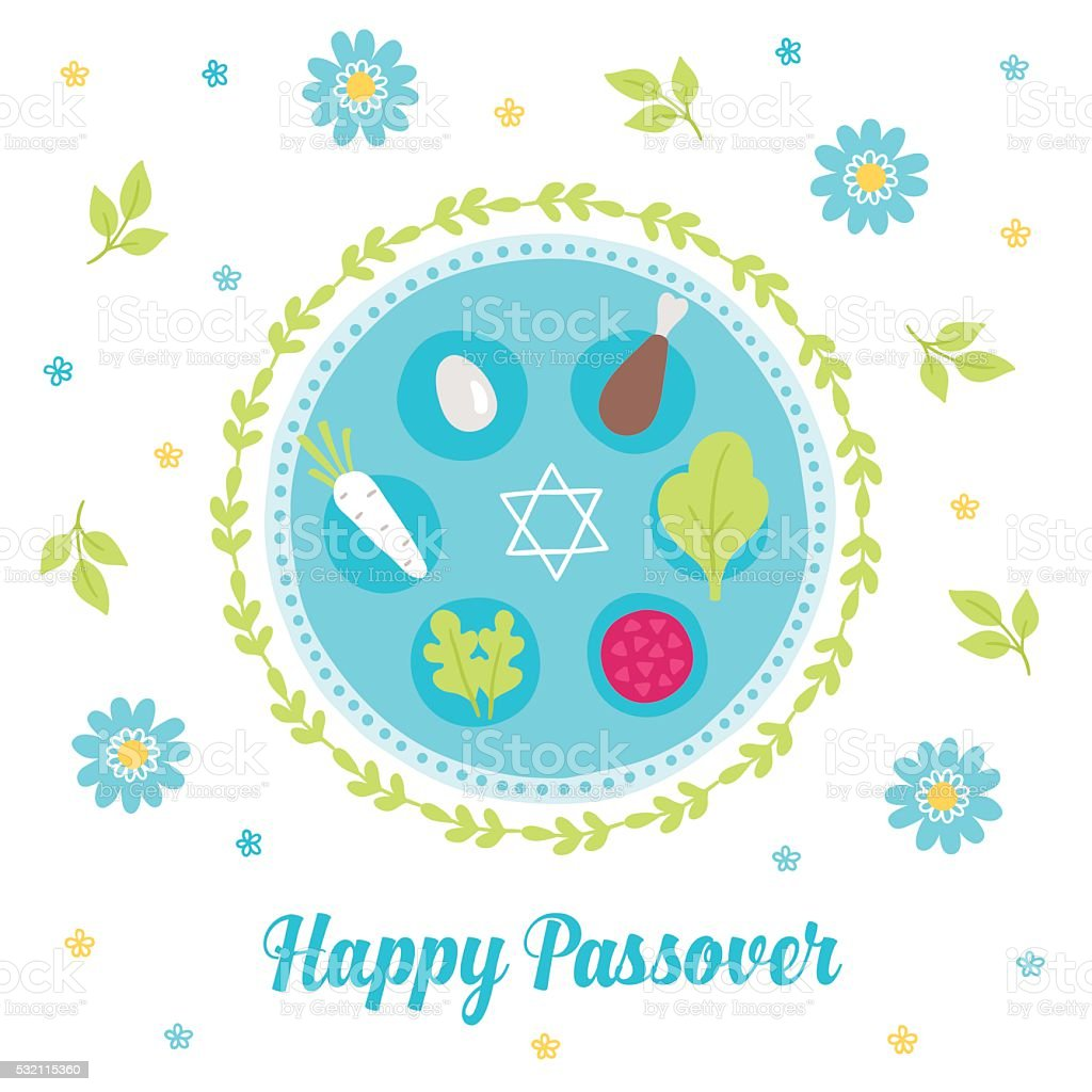 Passover greeting card with seder plate, wreath, branches vector art illustration