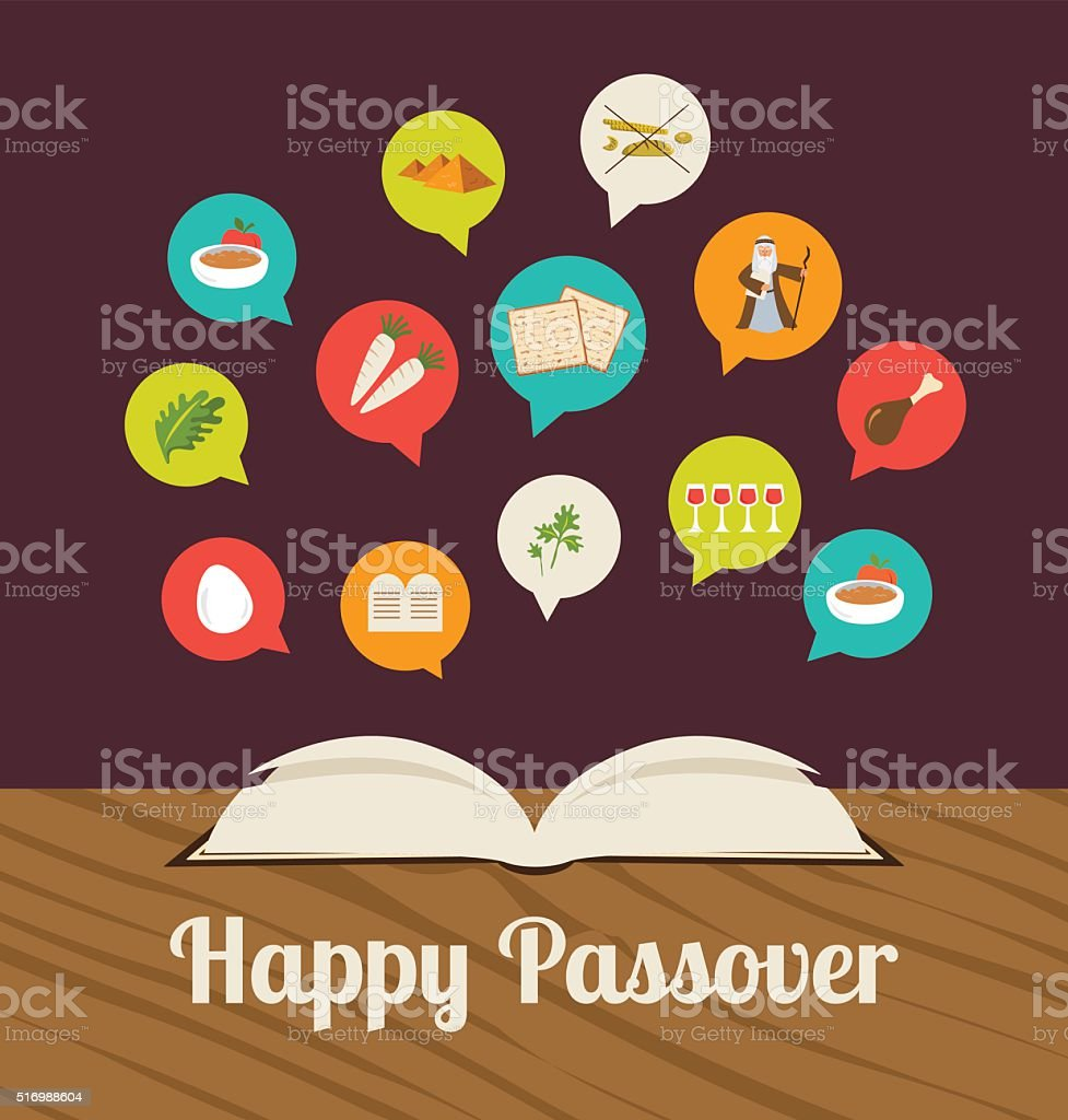 passover hagadah with traditional icons vector art illustration