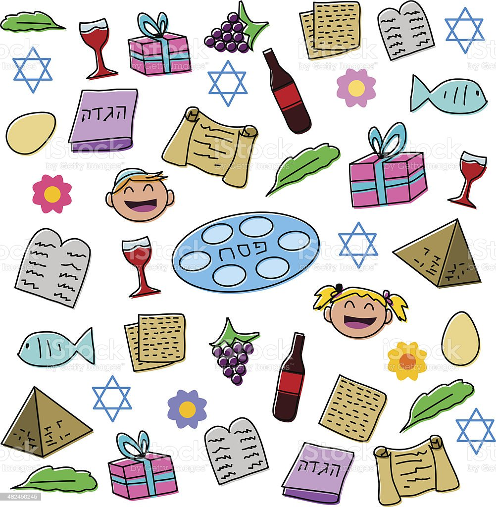 Passover Holiday Symbols Pack vector art illustration